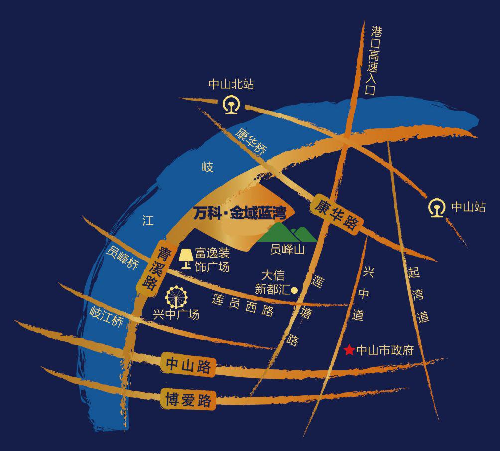 万科金域蓝湾区位图