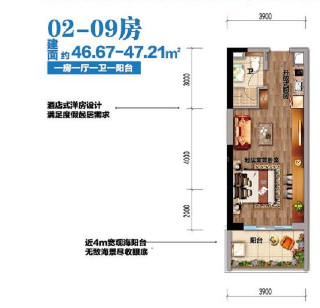 鼎龙湾一居户型图:建筑面积46-47㎡