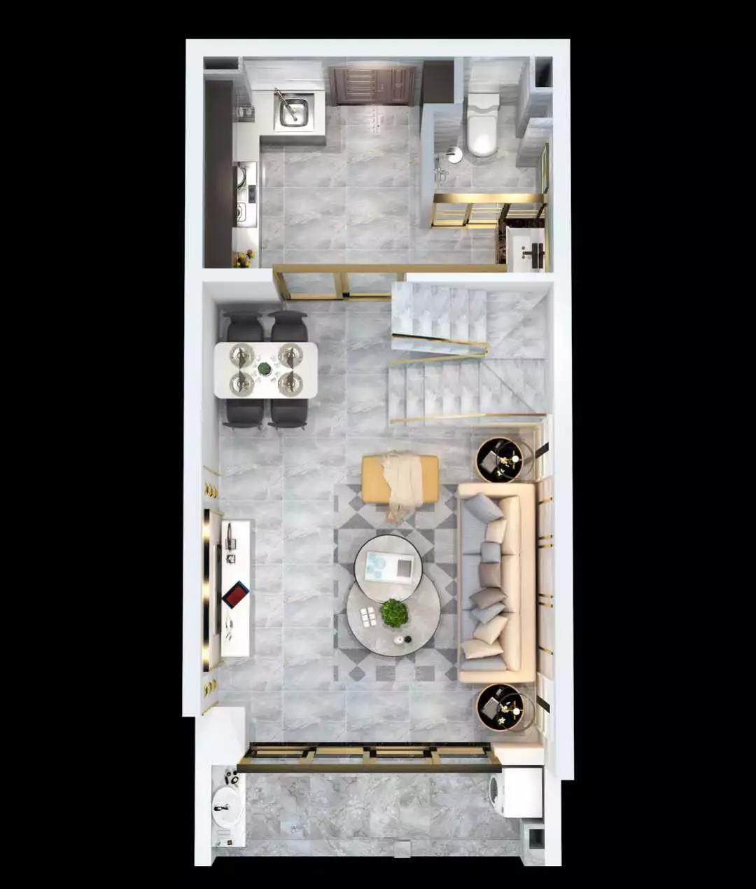 庆龄文化广场户型图:建筑面积48㎡两居二层