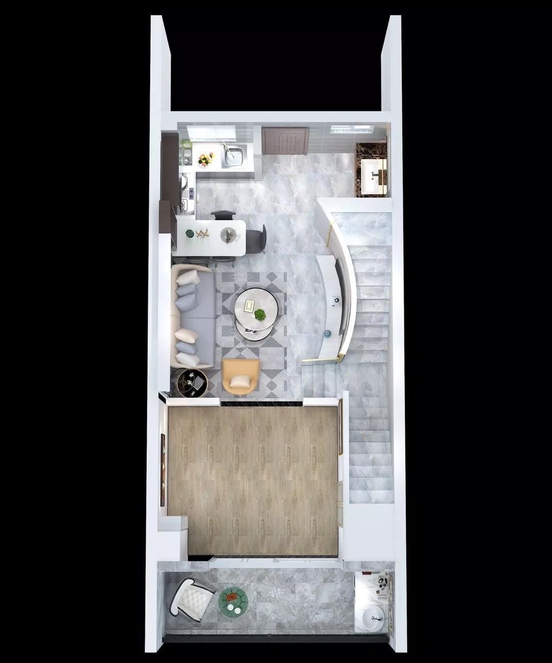 庆龄文化广场户型图:建筑面积51㎡三居二层
