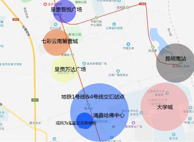 呈贡大型商业综合体位置分布
