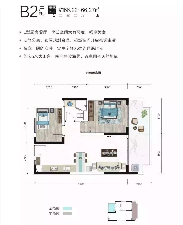兆信铂悦湾B2户型2室2厅1卫建筑面积66.22-66.27㎡