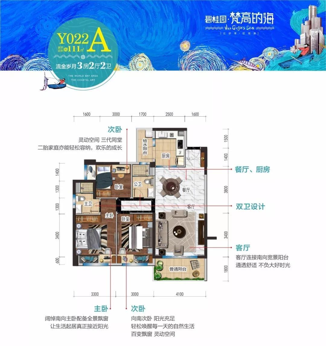 碧桂园梵高的海A户型3室2厅2卫建筑面积111㎡