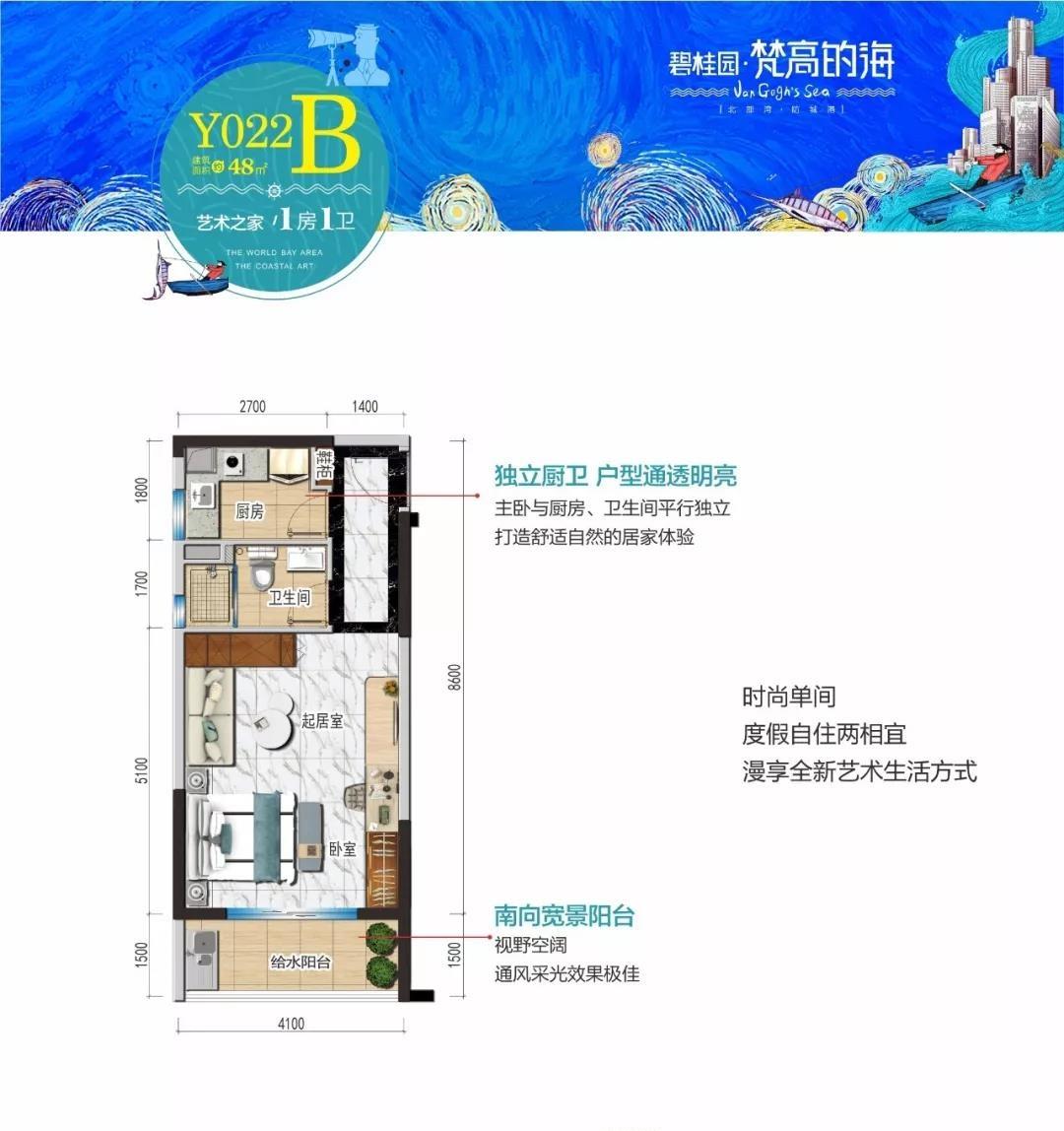 碧桂园梵高的海B户型1室1卫建筑面积48㎡