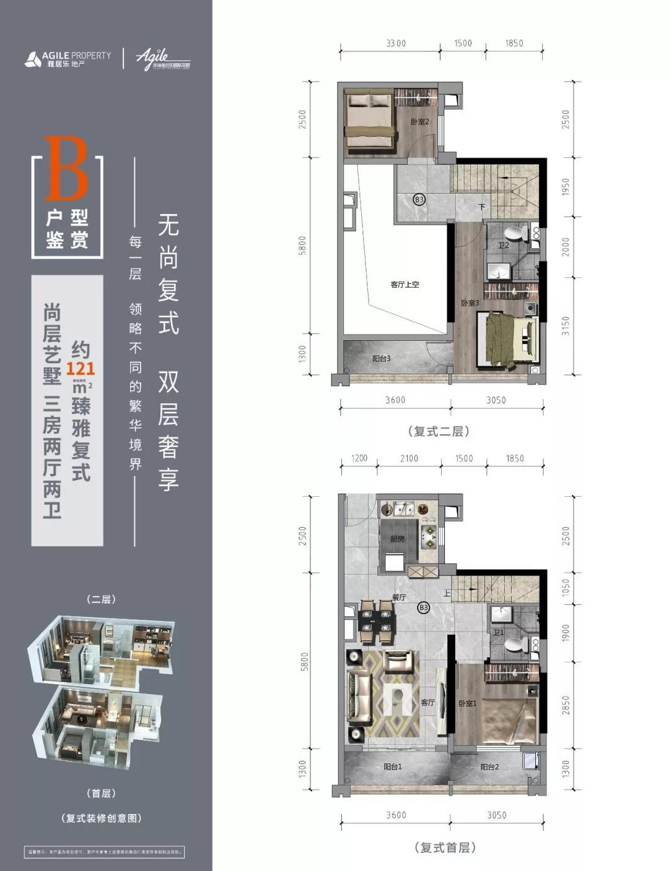 雅居乐国际花园B户型3室2厅2卫1厨建筑面积121㎡